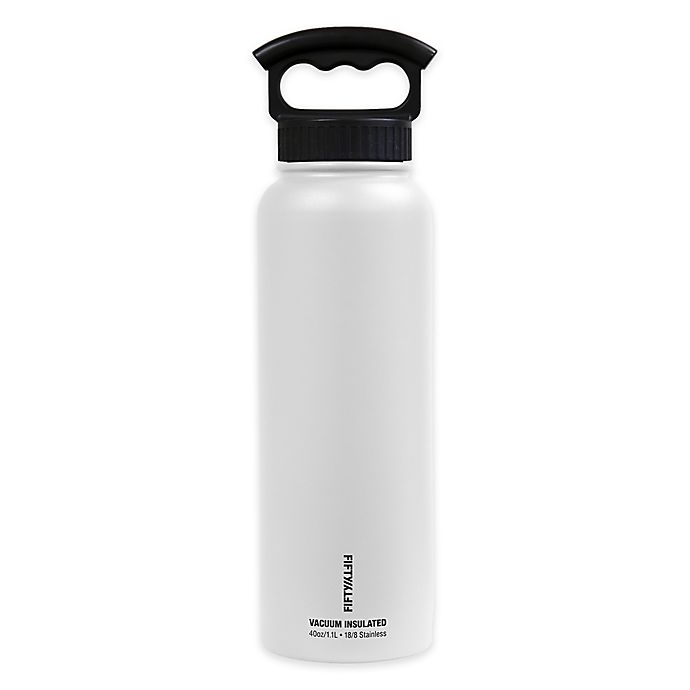 Alternate image 1 for FIFTY/FIFTY 40 oz. Double Wall Vacuum-Insulated 3-Finger Grip Water Bottle