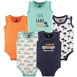 Hudson Baby® 5-Pack Beach Sleeveless Bodysuits in Orange