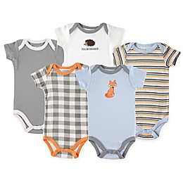Luvable Friends® 5-Pack Fox Bodysuits in Grey