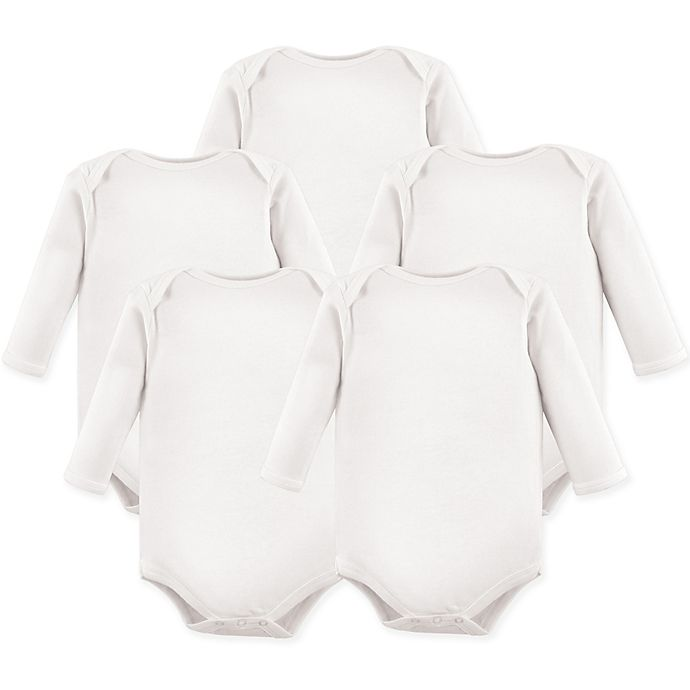 Alternate image 1 for Luvable Friends® Size 9-12M 5-Pack Long Sleeve Bodysuits in White