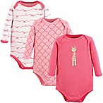 Luvable Friends® Size 0-3M 3-Pack Giraffe Long Sleeve Bodysuits in Pink