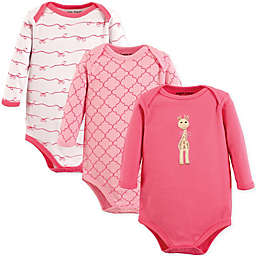 Luvable Friends® 3-Pack Giraffe Long Sleeve Bodysuits in Pink