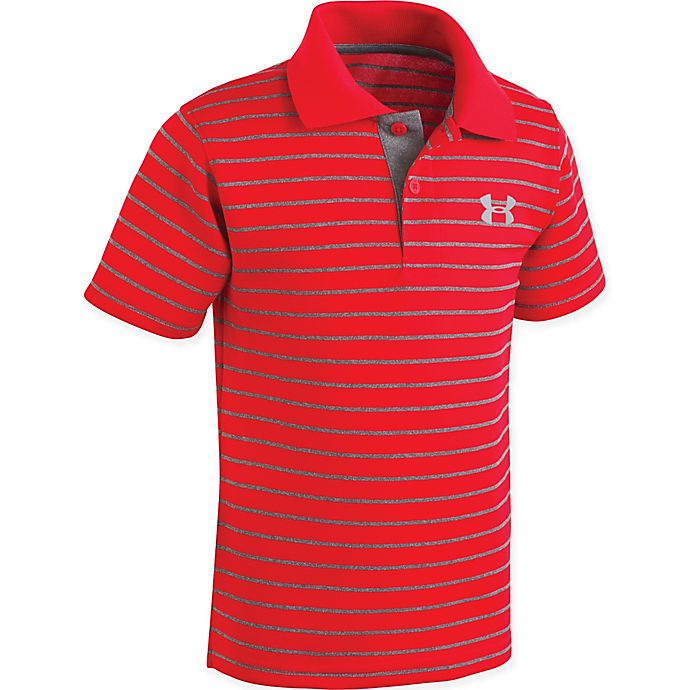 Alternate image 1 for Under Armour® Striped Polo Shirt in Red