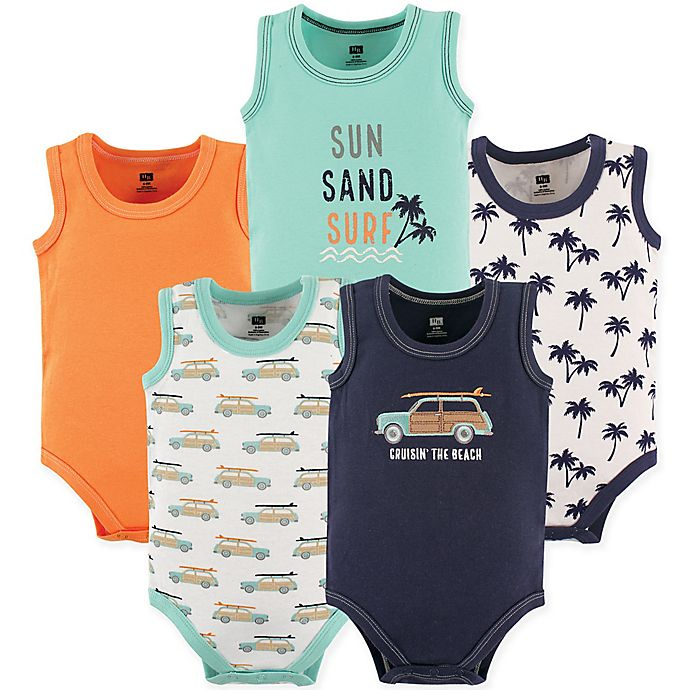 Alternate image 1 for Hudson Baby® Size 9-12M 5-Pack Beach Sleeveless Bodysuits in Orange