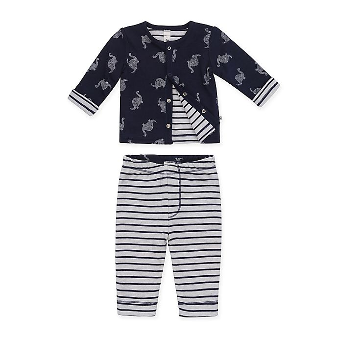 Alternate image 1 for Petit Lem™ 2-Piece Dino Dot Reversible Cardigan and Legging Pant Set in Navy