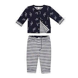 Petit Lem™ Size 9M 2-Piece Dino Dot Reversible Cardigan and Legging Pant Set in Navy