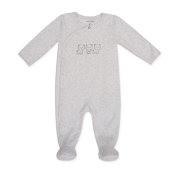Alternate image 1 for Petit Lem™ Love Bears Footie in Grey