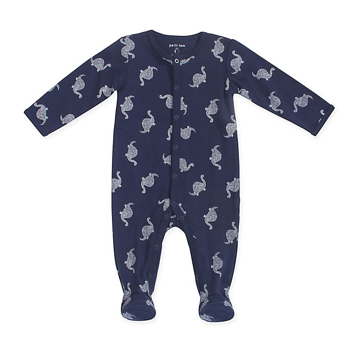 Alternate image 1 for Petit Lem™ Size 6M Dino Footie in Navy