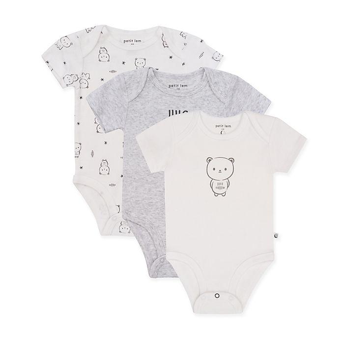 Alternate image 1 for Petit Lem™ 3-Pack Bear Bodysuits in White/Grey