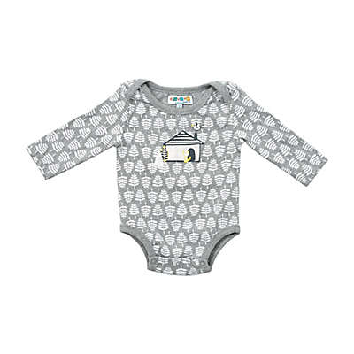 Coyote and Co. House Long-Sleeve Bodysuit in Grey/White
