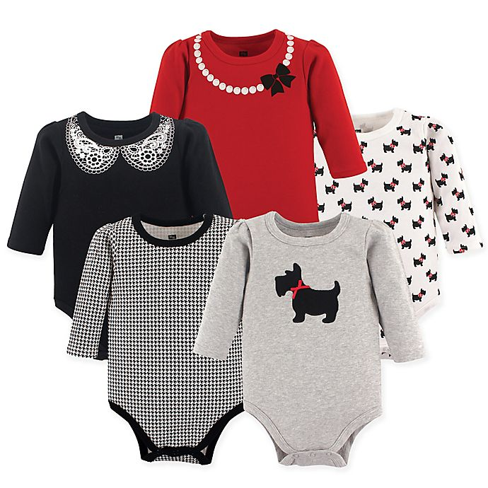 Alternate image 1 for Hudson Baby® 5-Pack Scottie Long Sleeve Bodysuits in Red