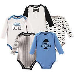 Hudson Baby® 5-Pack Gentleman Long Sleeve Bodysuits in Blue/White