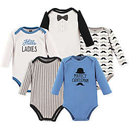 Hudson Baby® 5-Pack Gentleman Long Sleeve Bodysuits in Blue/White