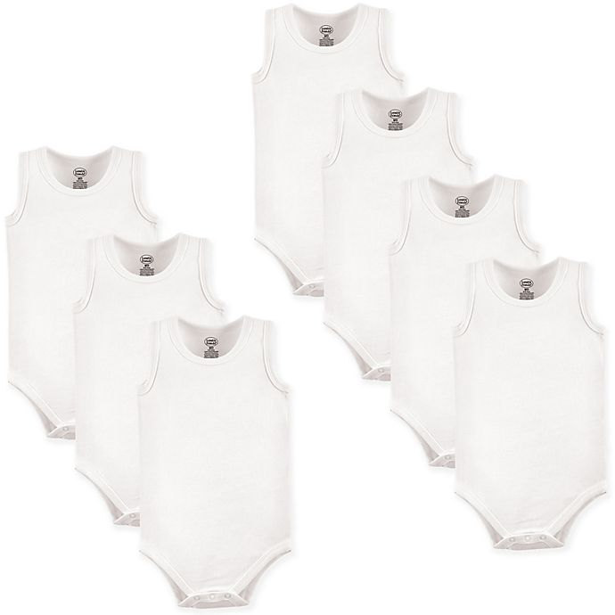 Alternate image 1 for Luvable Friends® Size 6-9M 7-Pack Sleeveless Bodysuits in White