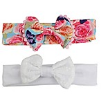 Tiny Treasures 2-Pack Flower Print and White Eyelet Bow Headbands