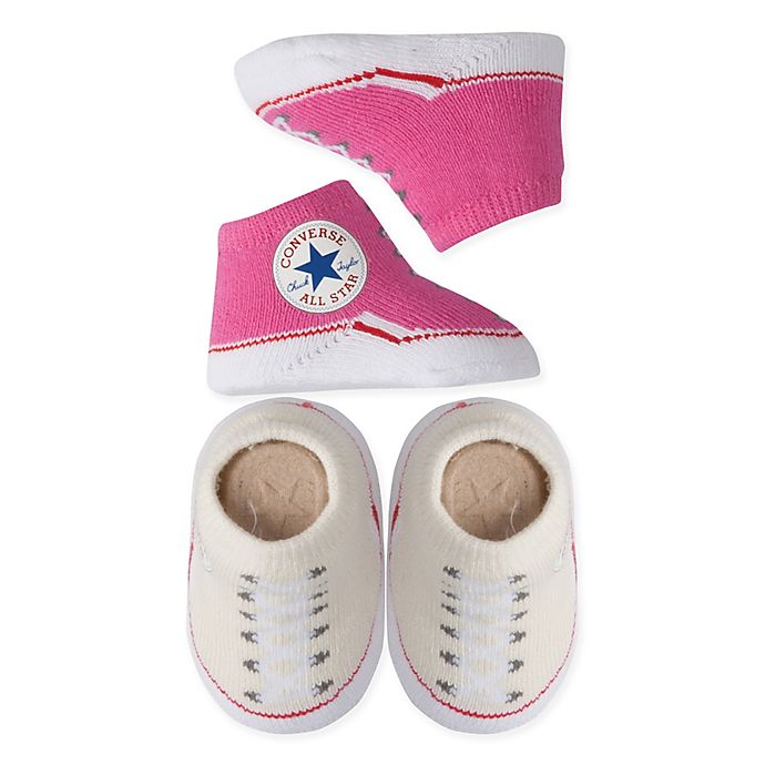 Alternate image 1 for Converse 2-Pack Chuck Booties in Pink/Cream