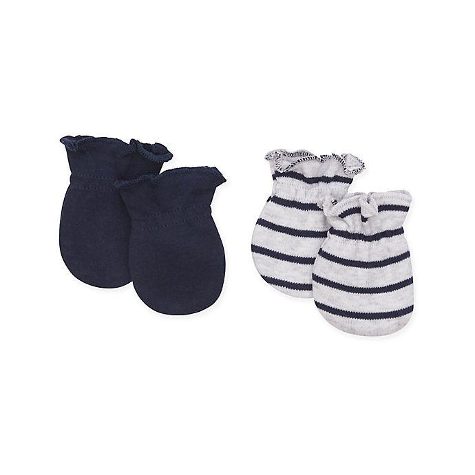 Alternate image 1 for Petit Lem™ 2-Piece Newborn Mittens Set in Navy/Grey