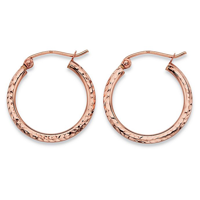 0078a64733a588 Palm Beach Jewelry 14K Rose Gold Diamond-Cut Tubular Hoop Earrings ...