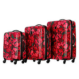 Isaac Mizrahi Irwin II 3-Piece Hardside Luggage Set in Berry