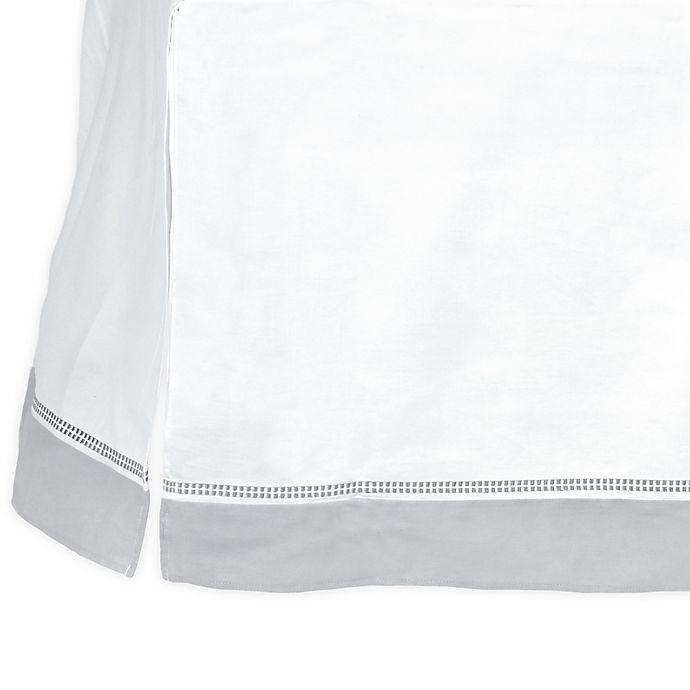 Alternate image 1 for Just Born® Dream Broken Stripe Crib Skirt in Grey/White