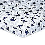 Just Born® Dream Jungle Print Fitted Crib Sheet in Navy