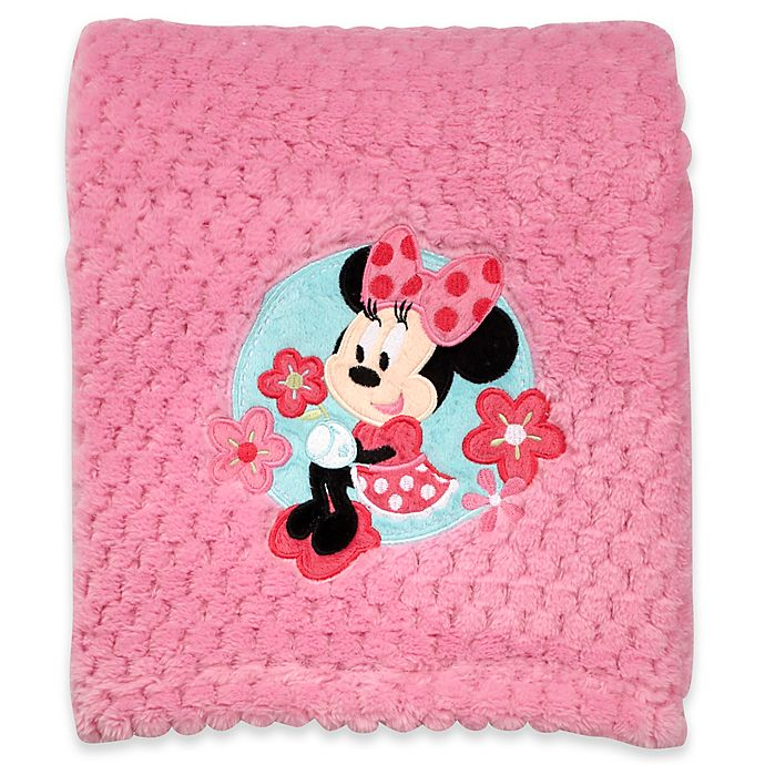 Alternate image 1 for Disney® Minnie Mouse Popcorn Fleece Blanket in Pink
