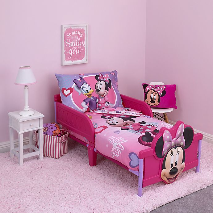 Alternate image 1 for Disney® Minnie Mouse Hearts and Bows 4-Piece Toddler Bedding Set