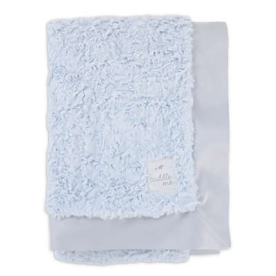 Cuddle Me Crushed Plush and Velboa Blanket with Satin Border