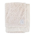 Cuddle Me Crushed Plush and Velboa Blanket with Satin Border in Ivory
