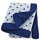 Just Born® Plush Star Blanket in Navy/Heather Grey