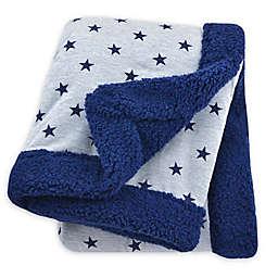 Just Born® Plush Star Blanket in Navy/Heather Grey