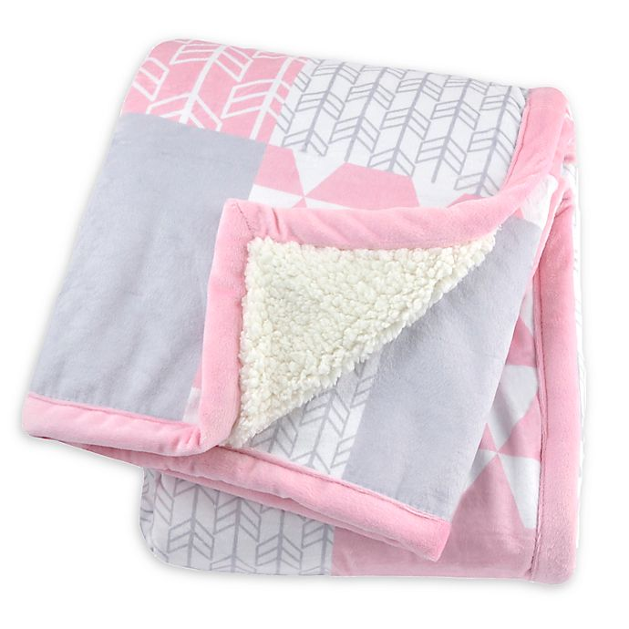 Alternate image 1 for Just Born® Patchwork Plush Blanket in Pink