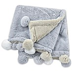 Just Born® Pom-Pom Plush Blanket in Grey