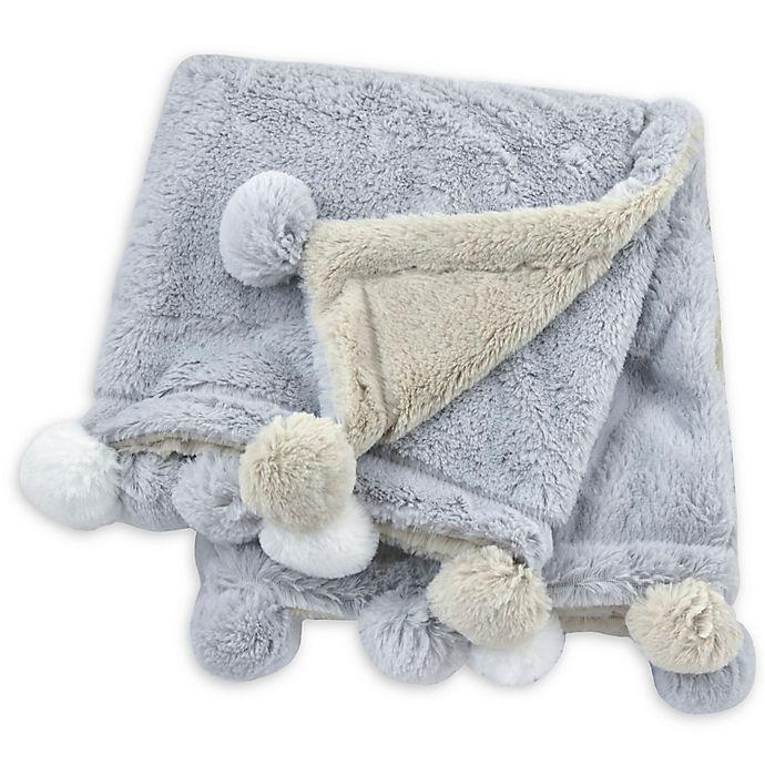 Alternate image 1 for Just Born® Pom-Pom Plush Blanket in Grey