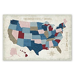 Courtside Market USA Vintage Map 24-Inch x 36-Inch Canvas Wall Art
