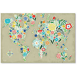 Courtside Market Floral World Map 24-Inch x 36-Inch Canvas Wall Art