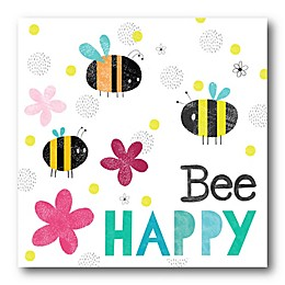 Courtside Market Bee Happy I 12-Inch Square Canvas Wall Art
