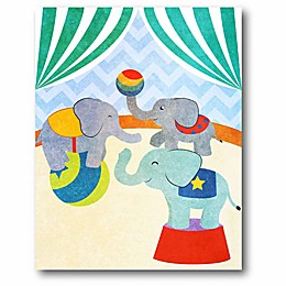 Courtside Market Elephants and Seals Center Stage I 11-Inch x 14-Inch Canvas Wall Art
