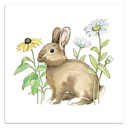 Courtside Market Wildflower Bunnies II 16-Inch Square Canvas Wall Art
