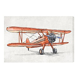 Oliver Gal Home Vintage Aviator 24-Inch x 36-Inch Canvas Wall Art in White/Red