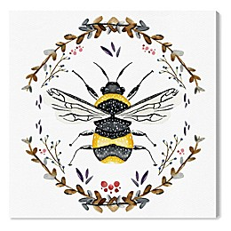 Oliver Gal Home Bumblebee 12-Inch x 12-Inch Canvas Wall Art in White