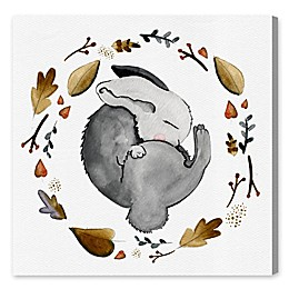 Oliver Gal Home Sleeping Bunny 12-Inch x 12-Inch Canvas Wall Art in White