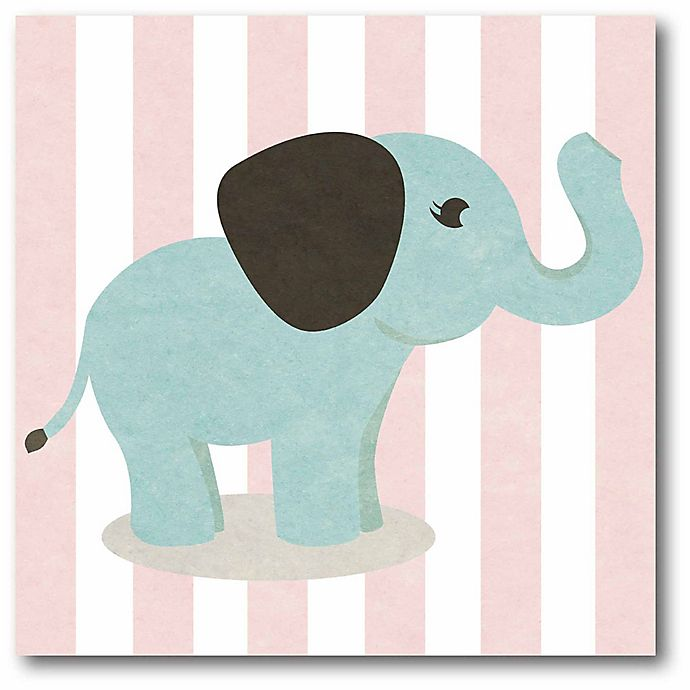 Alternate image 1 for Courtside Market Happy Baby Animals I Elephant 16-Inch Square Canvas Wall Art in Pink/Blue