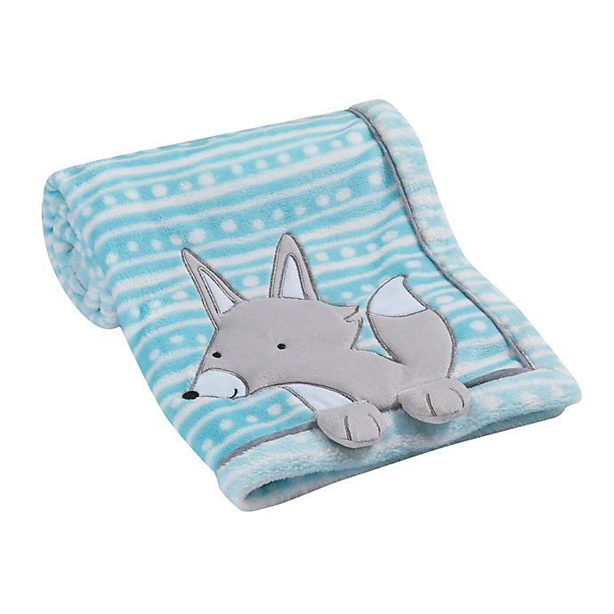 Alternate image 1 for Lambs & Ivy® Fox Appliqued Blanket in Teal