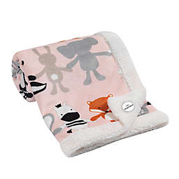 Lambs & Ivy® Elephant & Friends Velour Sherpa Blanket in White