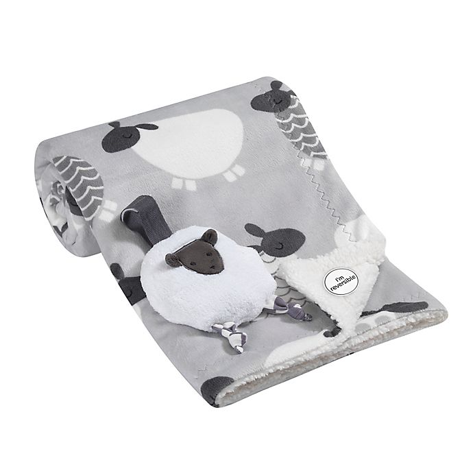 Alternate image 1 for Lambs & Ivy® 2-Piece Sheep Blanket and Stroller Toy Set in Grey/White
