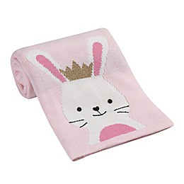 Lambs & Ivy® Bunny Jacquard Knit Blanket in Pink/White