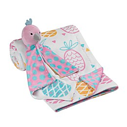 Lambs & Ivy® 2-Piece Pineapple Blanket and Bird Lovey Toy Set in Aqua/Pink