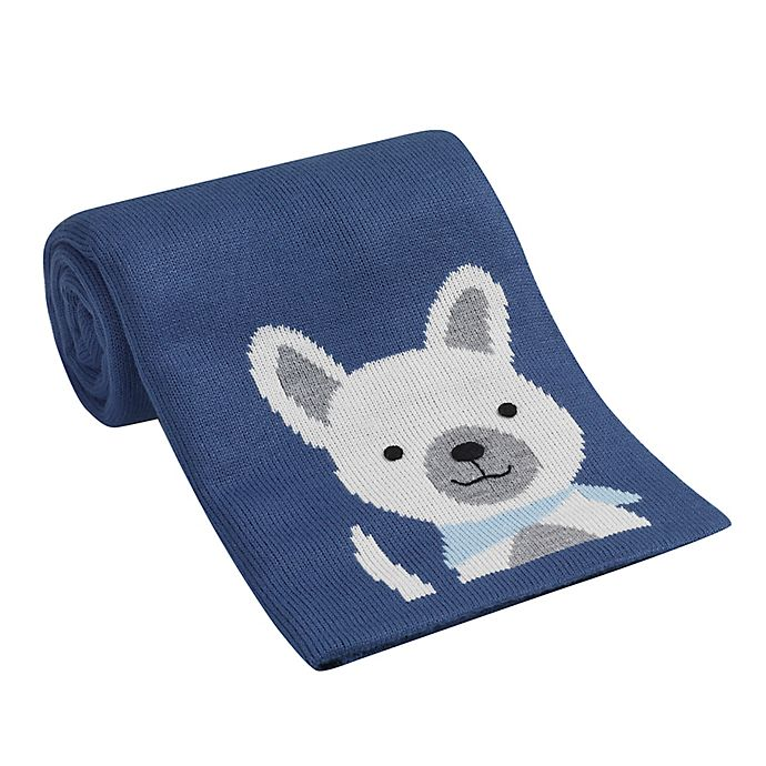 Alternate image 1 for Lambs & Ivy® Puppy Jacquard Knit Blanket in Blue/White