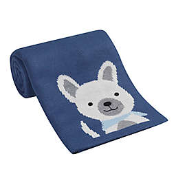 Lambs & Ivy® Puppy Jacquard Knit Blanket in Blue/White